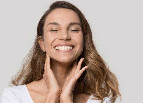 Woman living acne free